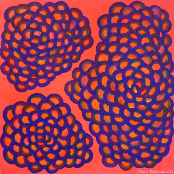 Pink Fluoro Coral, 50 x 50cm, acrylic on canvas