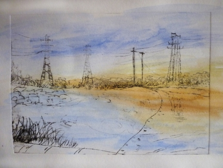 Stony Creek – blue, 2013, drypoint etching and water colour