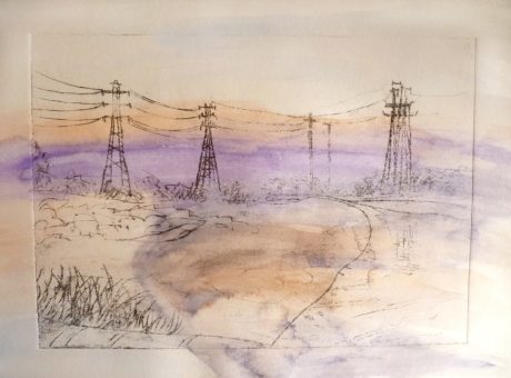 Stony Creek – purple, 2013, drypoint etching and water colour