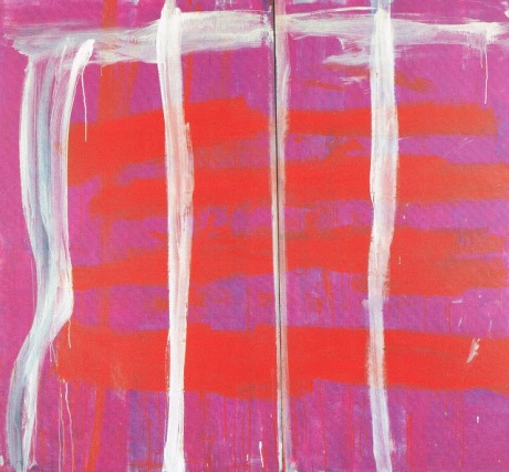 Pink Lines (Vertical) on Red and Purple